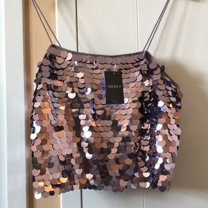 forever 21 NWT purple sequin crop top